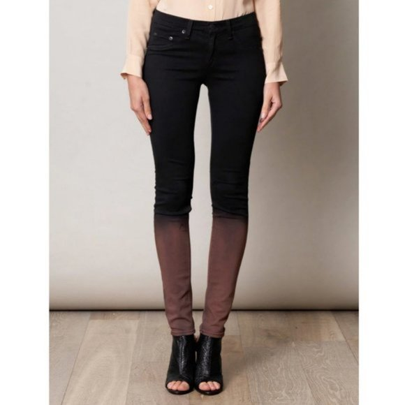 Stunning Rag & Bone Rusted Mauve Ombré Plush Mid-Rise Skinny Legging Jeans - 26